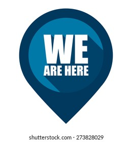 Blue We Are Here Map Pointer Icon Isolated on White Background
