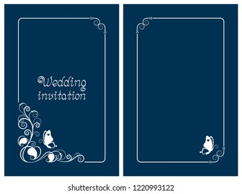 Blue wedding invitation, rsvp invite, thank you and save the date cards with floral design and butterfly. Vertical card template for foil print