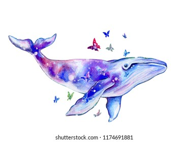 Blue whale watercolor illustration isolated on white.