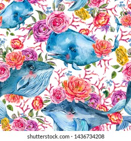 Blue whale watercolor seamless pattern with rose, anemones, summer flowers. Nautical digital paper, sea animal texture on white background, underwater clipart