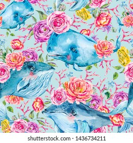 Blue whale watercolor seamless pattern with rose, anemones, summer flowers. Nautical digital paper, sea animal texture on blue background, underwater clipart