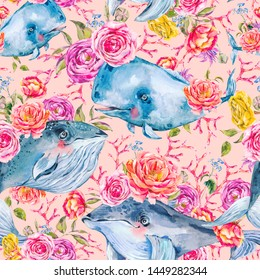 Blue whale watercolor seamless pattern with rose, anemones, summer flowers. Nautical digital paper, sea animal texture on pink background, underwater clipart