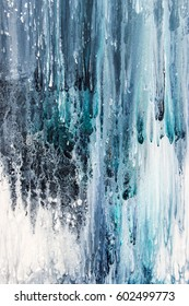 blue and white abstract painting on canvas