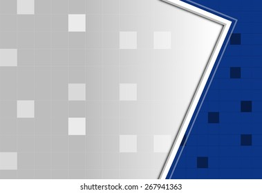 Blue and white abstract square pixel mosaic background