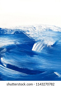 Blue and white art painting background. Abstract Waves Paintings.