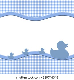 Blue and White Baby Frame with Ducks for your message or invitation with copy-space in the middle