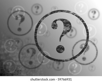 Blue and white background with many question marks