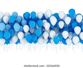 Blue and white balloons celebration background