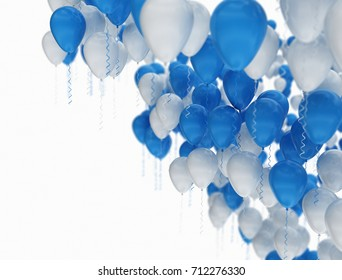 Blue and white balloons with copy space. Celebration background 3d render