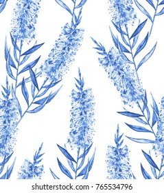 Blue and white Bottlebrush flower design. Seamless repeating pattern for backgrounds/textiles.