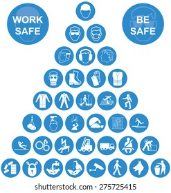 Blue and white construction manufacturing and engineering health and safety related pyramid icon collection isolated on white background with work safe message