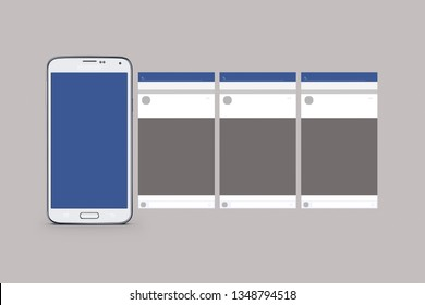 Blue and white isolated mobile phone mockup. Carousel on social media mockup with cell phone. Spaces to catalog products and services. Optimize your ads. Interactive format for the entire company.
