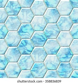 Blue and white marble hexagon seamless texture optimal use for background, floor, decorative stone and interior stone