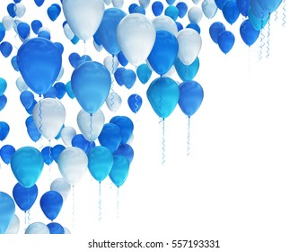 Blue and white party balloons isolated on white background. 3D render
