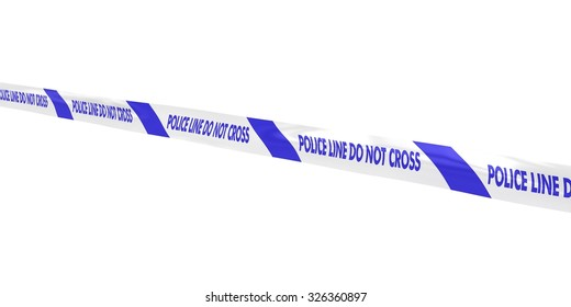 Blue and White Police Line Do Not Cross Tape Line at Angle
