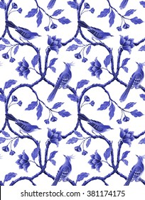 blue white seamless floral pattern, spring flowers and birds background, hand painted chinese wallpaper
