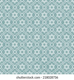 Blue and White Star of David Repeat Pattern Background that is seamless and repeats