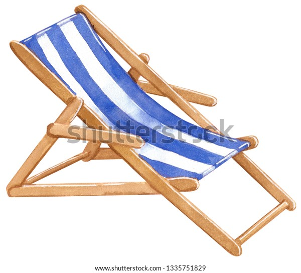 Magnificent Blue White Striped Wooden Beach Chair Stock Illustration Caraccident5 Cool Chair Designs And Ideas Caraccident5Info