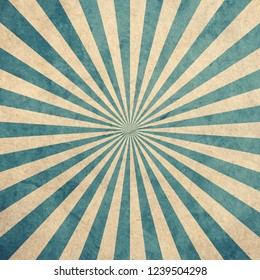 Blue and white sunburst vintage and pattern background with space.