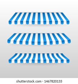Blue and white sunshade. Outdoor awnings for cafe and shop window isolated set. Tent sunshade for market, stripe summer scallop for store illustration
