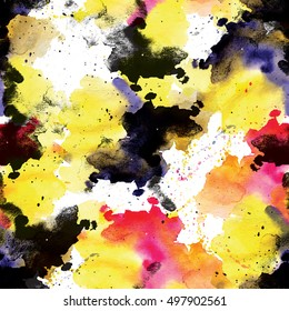 Blue, white and yellow seamless pattern watercolor blots on black background.