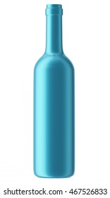 Blue wine bottle isolated on white background. 3D Mock up for your design.