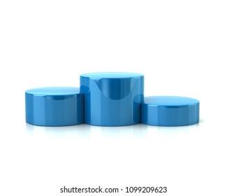 Blue winner podium 3d illustration on white background