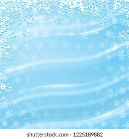 Blue winter background with shiny wavy lines and white snowflakes. Raster version