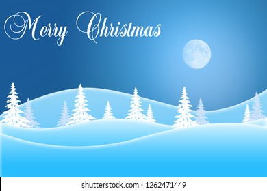 Blue winter scene of snow covered  hills under a moon lit sky with the word Merry Christmas