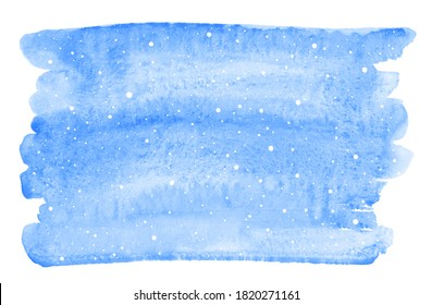 Blue winter sky watercolor background, banner, text frame with falling snow texture. Brush stroke shape with uneven edge, blue watercolour stains. New Year hand drawn graphic design element.
