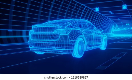 Blue wireframe Modern Electric car rides through Blue tunnel 3d rendering