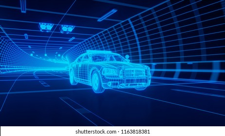 Blue wireframe Police car rides through Blue tunnel 3d rendering