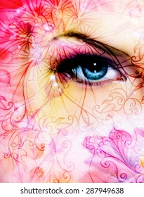 blue women eye beaming up enchanting from behind a blooming rose lotus flower, and ornament pattern
