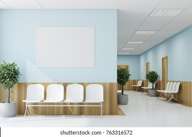 Blue and wooden hospital corridor with doors and white chairs for patients waiting for the doctor visit. A poster. 3d rendering mock up