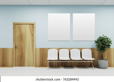 Blue and wooden hospital lobby with a door and white chairs for patients waiting for the doctor visit. A poster gallery. 3d rendering mock up