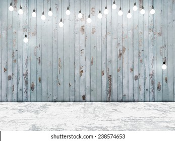 Blue wooden wall with light bulbs, background