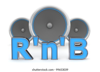 blue word R'n'B with metallic outline and three speakers in background