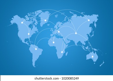 blue world map connection