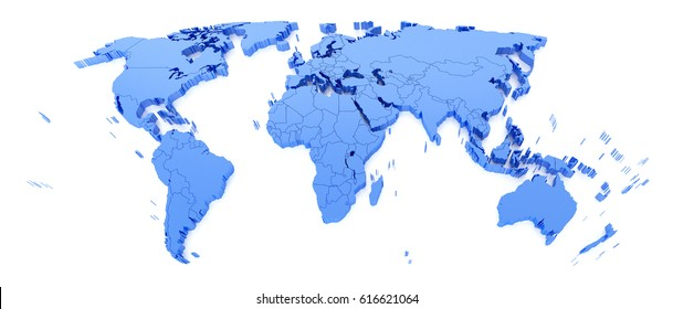 Blue World Map on white background. 3D render
