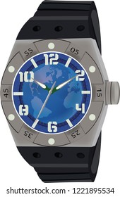 Blue wristwatch for sports people with a second hand