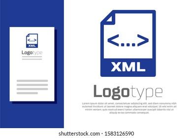 Blue XML file document. Download xml button icon isolated on white background. XML file symbol. Logo design template element.