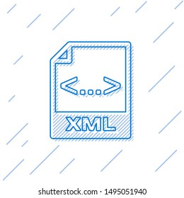 Blue XML file document icon. Download xml button line icon isolated on white background. XML file symbol