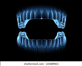 Blue x-ray teeth with open mouth. (on front view)