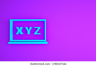 Blue XYZ Coordinate system on chalkboard icon isolated on purple background. XYZ axis for graph statistics display. Minimalism concept. 3d illustration 3D render