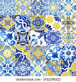 Blue and yellow Azulejos tiles. Patchwork print for wallpaper design. Traditional Portuguese Mosaic, Spanish Majolica tile desoration. Watercolor artwork, antique tileable ceramics, heritage. Floral