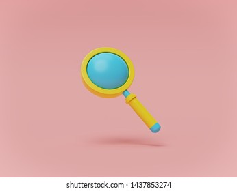 blue and yellow colored magnifying glass on pastel background. search, find and discover concept. minimalism. 3d rendering