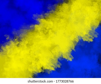 Blue and yellow colored powder explosion on a black background