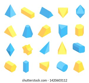 Lot of blue and yellow geometric figures poster pyramids pentagrammic hexagonal triangular prisms cylinder octahedron raster illustration