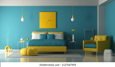 Blue and yellow master bedroom with double bed and armchair - 3d rendering