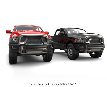 Blue and yellow modern pick-up trucks - side by side - 3D Render